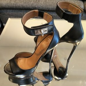 Givenchy Platform Stilettos Shark Clasp Sandals 7